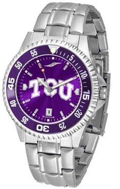 TCU Texas Christian Men's Stainless Steel Dress Watch by SunTime. $86.95. TCU Texas Christian men's stainless steel watch. College dress watch with rotating bezel color-coordinated to compliment your favorite team logo. The Competitor Steel utilizes an attractive and secure stainless steel band. Perfect for any occasion, whether casual or formal. Goes great with game day attire. The AnoChrome dial option increases the visual impact of any watch with a stunning radial reflec...