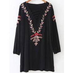 Relaxed Long Sleeve Embroidered Dress (48 BAM) ❤ liked on Polyvore featuring dresses