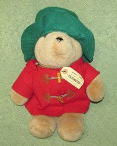 "EDEN Paddington Bear 16"" Plush Teddy RED Felt Coat GREEN Hat Wood Button TAG Vtg #Eden"