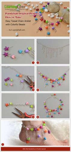 Pandahall Original Project--How to Make Easy Tassel Chain Anklet with Colorful Beads from LC.Pandahall.com