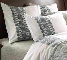 Embroidered Stripe Duvet Cover & Sham - Porcelain Blue #potterybarn