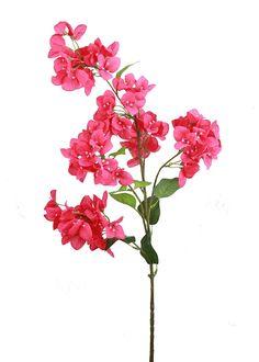 "Bougainvillea Silk Flower Spray in Hot Pink 43.5"" Tall"