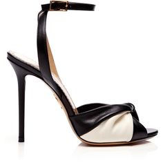 Charlotte Olympia Do The Twist Leather Sandals ($270) ❤ liked on Polyvore featuring shoes, sandals, heels, black, ankle strap high heel sandals, heeled sandals, black leather sandals, black high heel sandals and black leather shoes