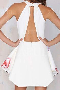 Printed Halter Backless Dress