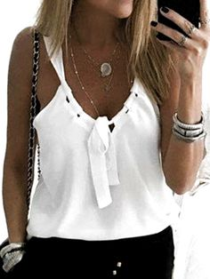 Casual Sexy Low Round Collar Sleeveless T-Shirt Casual Sexy Low Round Collar Sleeveless Tee Sewing Clothes, Diy Clothes, Clothes For Women, Summer Outfits, Casual Outfits, Fashion Outfits, Womens Fashion, Fashion Clothes, Refashion