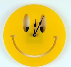 Smiley Face Yellow Acrylic Wall Clock