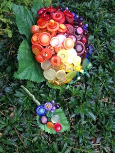 Rainbow Button Bouquet by daisybluebuttons on Etsy