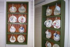 The wife has a fetish for teacups, but didn't have a place to put them. I used some scrap wood to make a rack that would allow her to display them.