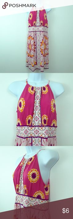 LONDON TIMES SUNFLOWER KEYHOLE DRESS Size 6 Racerback with keyhole Polyester and spandex London Times Dresses Midi