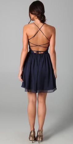 Back of navy blue dress