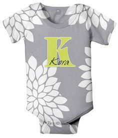 Mums Monogram Baby Onesie Personalized Grey by SimplySublimeBaby, $24.95