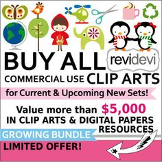 Buy all commercial use clip art at a very affordable price! Have a Lifetime Access to all commercial use Clipart and Digital Papers! This is a great growing bundle. This offer allows you to access all collection of REVIDEVI clip arts and digital papers, for
