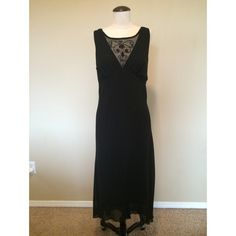 NWOT Black Creme Fabric Gown with Lace Inset 16 Lace inset at neckline, crepe diagonal cut fabric skirt and top mid-calf length dress. Skirt flares out slightly, button at neck closure. Fits close to the body. Runs smaller more of a 14 than a 16. Dresses Midi