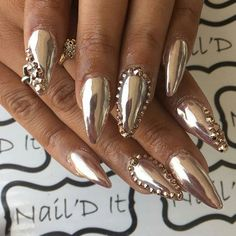 Swarovski crystals rose gold and chrome pigment available on oceannailsupply.com . . . From @naildit_houston