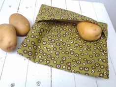 Microwave Potato Bag In Sage Green Fabric With Circles