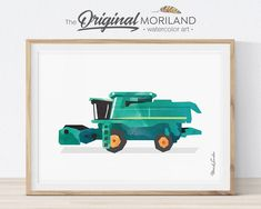 Combine Harvester Print, Transportation Wall Art, Tractor Farm Combine, Children's Room Art, Agriculture Prints, Little Boy Room, Printable by MORILAND on Etsy