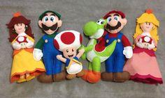 Mario Bros feltro felt Luigi princesa peach Daisy yoshi cogumelo mushroom