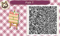 Animal Crossing QR Codes ❤VandoriaforestTumblr Off white brick path w/ moss peeking through, Roses/ roses petals , Tile #5 Bottom Side Straight