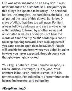 Verily with hardship is ease Champions never fail WE learn - Pin to Pin Best Islamic Quotes, Islamic Inspirational Quotes, Muslim Quotes, Religious Quotes, Best Quotes, Motivational Quotes, Awesome Quotes, Allah Quotes, Quran Quotes