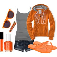 Orange and Gray, created by missyfer88 on Polyvore - this is a cool summer to fall night.