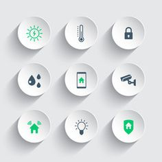 Smart house round modern icons, vector illustration, eps10
