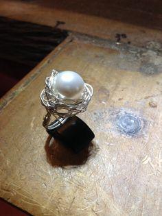 Handmade, 925 Sterling Silver wire with Swarovski bead