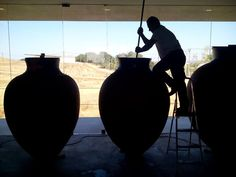 """Winemaking in clay jars - named """"#talha"""" - is one of Alentejo's ancestral traditions that we resumed in Herdade de São Miguel. Almost extinct, this traditional knowledge goes back 2000 years, when the Romans settled in Lusitania. Here they produced #wines that were exported all over the Roman Empire. — at Casa Alexandre Relvas - Herdade São Miguel."""