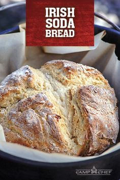 Enjoy an Irish taste with this soda bread recipe in your Dutch oven. The crunchy crust and soft interior make it perfect for stew, sandwiches, and more. Dutch Oven Bread, Dutch Oven Cooking, Dutch Oven Recipes, Bread Recipes, Baking Recipes, Salted Caramel Fudge, Salted Caramels, Cooking With Charcoal, Campfire Desserts