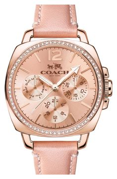 a688fd22ea COACH 'Boyfriend' Small Crystal Bezel Leather Strap Watch, available at