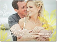 Fabulous Foliage - Signature White Photo Save the Date Cards - Stacey Day - Sunny Yellow - Yellow : Front