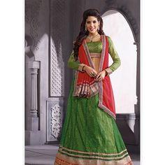 Green Heavy Embroidered Bridal Wear Lehenga Choli at Easysarees. Net Lehenga, Lehenga Choli Online, Lehenga Saree, Green Lehenga, Indian Bridal Lehenga, Indian Sarees Online, Indian Dresses, Fashion Outfits, Women