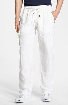 Men's Vilebrequin Linen Cargo Pants White Pants Men, White Cargo Pants, Cargo Pants Men, Indian Men Fashion, Mens Fashion Suits, Men's Fashion, Linen Trousers, Trouser Pants, Shirt Style
