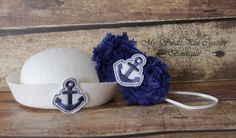 Sail Away Newborn Photo Prop Set Sailor Hat by MySweetPeaCouture, $18.00