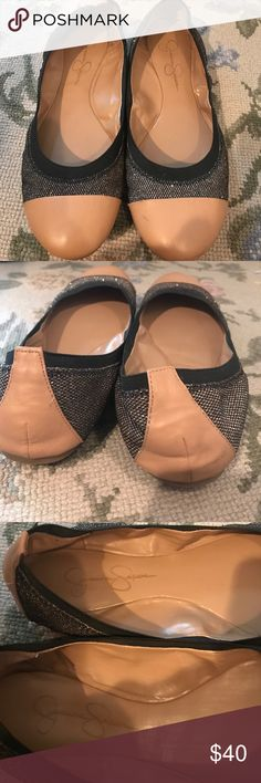 Black and gold Jessica Simpson flats Sparkly black and gold Jessica Simpson flats Jessica Simpson Shoes Flats & Loafers