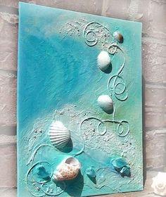 Dancing Waves 30 Large Original Mixed Media Art beach home decor ocean waves seashells ocean green aqua blue sand sunshine Diy Canvas Art, Acrylic Painting Canvas, Acrylic Art, Canvas Ideas, Canvas Crafts, Art Painting Tools, Art Texture, Seashell Art, Seashell Crafts