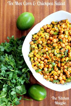 Roasted Corn and Chickpea Tex Mex Salad. This is seriously amazing. From The Kitchen Magpie. #recipe