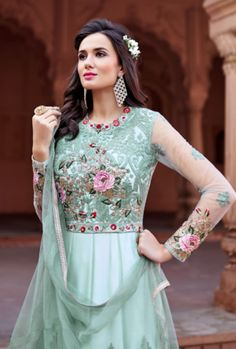 Buy Amazing Sea Green Color Net Designer Anarkali Suit Indian wedding salwar suits online in USA, UK, Canada, and Australia from VJV Fashions by designer Floor Length Anarkali, Long Anarkali, Anarkali Gown, Lehnga Dress, Anarkali Suits, Lehenga Choli, Punjabi Suits, Indian Gowns, Indian Outfits