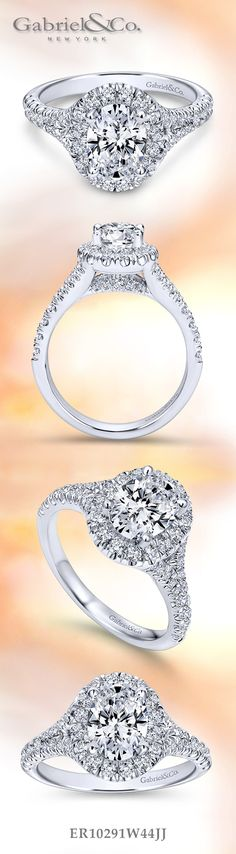 Gabriel & Co. - Make your center stone come to life with an Halo Oval Cut Engagement Ring. Discover more here! ** ROSE GOLD**