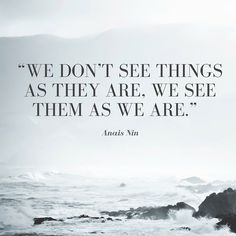 """""""We don't see things as they are, we see them as we are."""" — Anais Nin"""