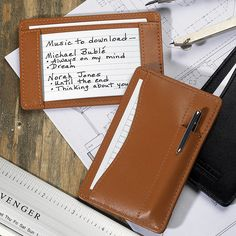 Slim Wallet Writer With Pen - Leather Wallet, Writing Pad - Levenger Moleskine Notebook, Pocket Notebook, Slim Leather Wallet, Slim Wallet, Cheap Business Cards, Michael Buble, Index Cards, Office Accessories, Pen And Paper