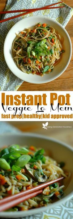 Healthy Meals Fast Prep Instant Pot Vegetable Lo Mein :: All of the Asian flavors you love, in… - All of the Asian flavors you love, in less than 10 minutes of time! This healthy Instant Pot Lo Mein is weeknight fast and nourishing at the same time! Whole Food Recipes, Dinner Recipes, Cooking Recipes, Healthy Recipes, Instapot Vegan Recipes, Cooking Bacon, Healthy Food, Cooking Broccoli, Paleo Dinner