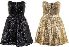 1 black sparkly dress and a gold one the same