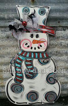 Snowman Winter Door Hanger Door Sign Door by shabbyandsuchdesigns