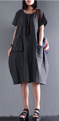 black unique strips cotton dress pocket casual dresses short sleeve sundress