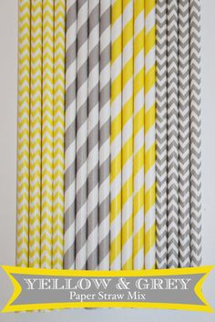 50 Yellow & Grey Paper Straw Mix PAPER STRAWS by PartyDelights, $8.00