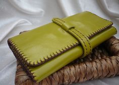 LOVE THE COLOR  Tri-fold Woman Leather Clutch Wallet, Handstiched. $47.00, via Etsy.