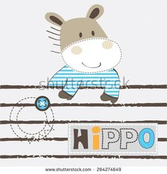 cute hippo cartoon vector illustration