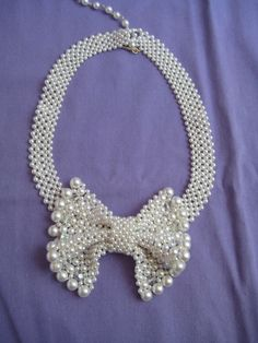 Vintage Japan Faux Pearl Clear Faceted Glass Bead Bow Tie Necklace Choker Chunky #Choker