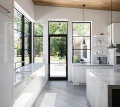 White Kitchen, black frame windows and door, light filled and airy // Timpanogos Estate | Kolbe Windows & Doors