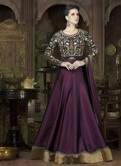 Purple and Black Colored Tempting Designer Embroidered Anarkali Suit